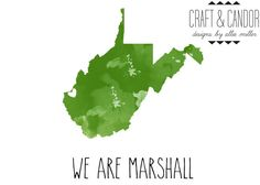 Marshall University Print Huntington West by CraftandCandor, $8.00