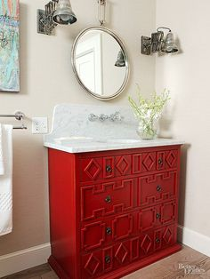 Advance your vanity beyond basic with a little extra design oomph! http://www.bhg.com/bathroom/remodeling/planning/bath-details/?socsrc=bhgpin030815detailedcabinetry&page=2