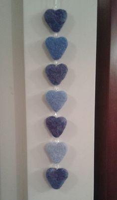 Needle felted hanging hearts (blue) £7.50