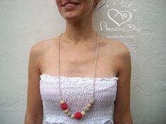 Modern NURSING Necklace Linen Grey Red Crochet by AmazingDay, $15.00