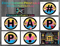 Printable Emoji Birthday Party Decorations | Emoji Party Supplies | Emoticon