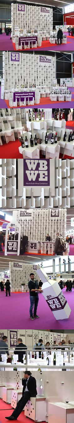 Modular booth with different combinations perfect for trade shows, fairs and events! Produced in cardboard for World Bulk Wine Exhibition by Cartonlab. #modulardesign #modularbooth #wine
