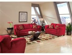 dream living room with a beautiful red sofas an interesting