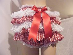 ADULT BABY SISSY RED GINGHAM LACE RUFFLE DIAPER COVER PANTIES W/PROOF/LOCK ABDL