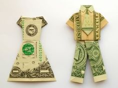 Origami dress & pant suit...this would be such a cute idea for a wedding gift. Attach the money to a blank card...i.e. bride & Groom