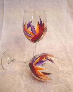 bird of paradise painted wine glasses