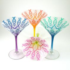 Frosted Martini Glasses - Vesuvian Flower - Assorted Colors - Painted Glassware