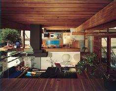 Kappe residence (interior), Pacific Palisades, California. Ray Kappe, architect. Photo: Julius Shulman 1968