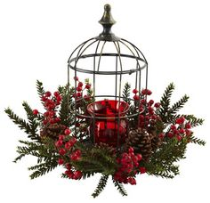 Pine Berry Birdhouse Candelabrum - contemporary - indoor pots and planters - by Modern Furniture Warehouse