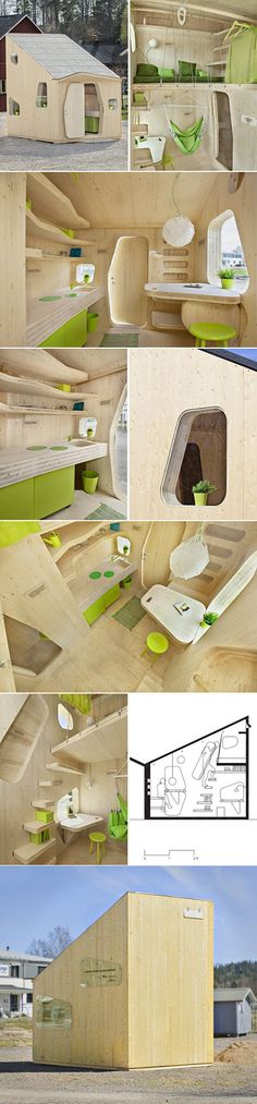 """Housing for students in Sweden can be a tough thing to find. For a temporary place, rent can be pricey. And with the amount of time that's actually spent within the confines of a room– there's not a whole lot of actual living space needed. Tengbom Architects created the """"Smart Student Unit"""" to give those studying a beautifully green and functional place to reside.Crafted from cross laminated wood, the unit comes with built in furnishings in a contemporary package. In only 100 square feet…"""