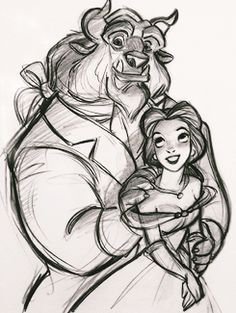 "mickeyandcompany: "" Character designs for Beauty and the Beast (1991), by Glen Keane """