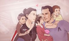 commission piece for ~ryvir! she wanted some cute kaidan femshep stuff ouo lol shit the alenkos sounds like such a lame title omg