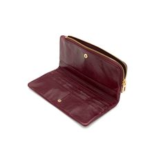 SMALL LEATHER GOODS Leather Zipped billfold WINE