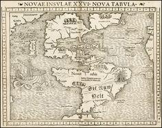 Sebastian Munster:  Novae Insulae XXVI Nova Tabula [1st Map of the continent of America] - Barry Lawrence Ruderman Antique Maps Inc.