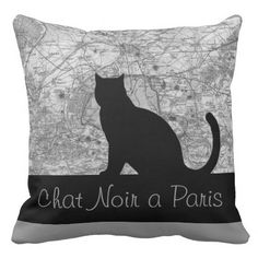 Black Cat in Paris Throw Pillow