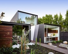 on a site in suburban melbourne, australian studio austin maynard architects has completed a modest dwelling with large openings.