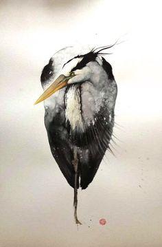 Karl Martens, Grey Heron, watercolour on paper      WATERCOLOUR ON PAPER