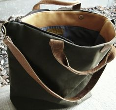 Large OD Olive Drab Canvas and Leather Tote Bag by DalleMieMani, $145.00