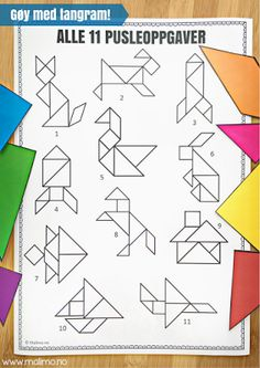 Malimo: 4 GODE grunner til at du bør bruke tangram i klasserommet! Pusleoppgaver som utvikler mange ferdigheter! Preschool Curriculum, Teaching Math, Math Stations, Arts And Crafts, Barn, Literacy Games, Activities, 1 Year, Lyrics