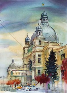 Lviv, Railway Station / watercolor on paper / 30 x 40 cm, 2010