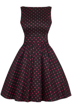"This Classic ""Lady Vintage"" Tea Dress features a style flared skirt with a fitted bodice. Perfect for both formal and informal wear, these dresses are extremely cute. We have photographed the dress using a length petticoat, which helps to show Shades Of Maroon, Lady V, Pink Polka Dots, Flare Skirt, London, 1940s, Womens Fashion, Skirts, Tea"