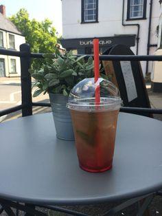 Peppermint and raspberry iced tea. Bar Piazza Caerleon & Newport