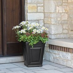 """Free Shipping on orders over $35. Buy 18"""" Black Vase at Walmart.com Square Planters, Black Vase, Garden Pots, Lawn And Garden, Home And Garden, Better Homes And Gardens, Front Porch, Planter Pots, 18th"""