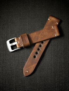 """""""Khaled"""" Russet Handmade Leather Tapered Watch Strap - Bas and Lokes"""