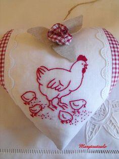 Embroidery Redwork- Hen & Chicks