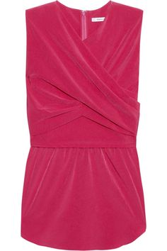 A gathered wrap-effect front and a flared peplum give Carven's soft washed-crepe top a flatteringly feminine fit. Make the juicy raspberry hue pop with bright pants and clashing accessories.