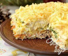 рецепт Закусочный торт из вафельных коржей с консервами