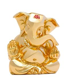 Traditional Ganesha Idol with large ears made up of cultured marble covered with a layer of pure Gold. Having gold plating ensures that it does NOT tu Jai Ganesh, Ganesh Idol, Shree Ganesh, Ganesha Art, Lord Ganesha, Ganpati Bappa Wallpapers, Ganesh Rangoli, Ganesha Pictures, Bhagavata Purana