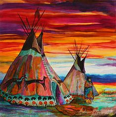 Native American Indian Art - Summer on the Plains by Anderson R Moore