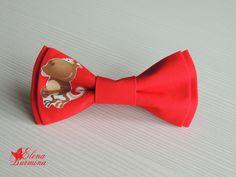 Купить Бабочка галстук с обезьяной, хлопок - ярко-красный, рисунок, обезьянка, Новый Год