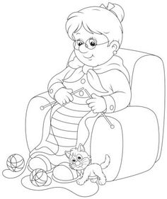 Granny Knitting Royalty Free Cliparts, Vectors, And Stock Illustration. Mothers Day Images, Grands Parents, Doodle Designs, Grandparents Day, Colouring Pages, Easy Drawings, Adult Coloring, Line Art, Vector Art