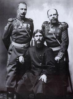 Colonel Lotman , Rasputin & Major General Putyatin. 1904 Photo by Karl Bulla.