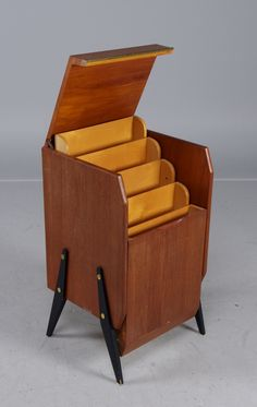 """Filing cabinets / """"note cabinet"""", teak, flap with underlying storage compartments. Sweden, 1950s."""