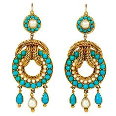 Turquoise for the day!! Came across these on Pinterest, and there is no other information; if anybody knows anything about this pair, please comment... #antiquejewelry #lovegoldlive #earrings #turquoise #finejewelry #lovegold #antiquejewellery #turquoisetuesday #jewelry #gold #pearls #jewellery #pinterest #victorianjewelry #mystery #inspiration