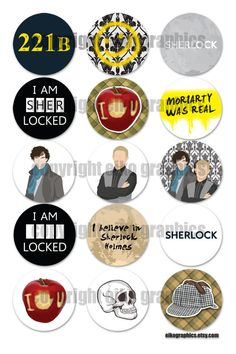 Sherlock BBC 1 inch Circle Digital Download for bottle caps! MUM! LOOK! @Therese Mullins