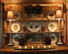 Love the display and the lamps in this china hutch
