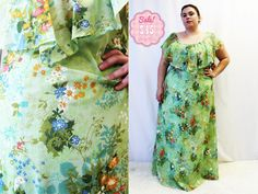 CLEARANCE  Plus Size  Vintage 1970's Green Floral by TheCurvyElle, $45.00