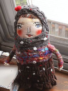 Original art doll folk art  Lina in the snow  OOAK by by miliaart  on Etsy