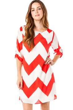 ShopSosie Style : Simple Chevron Shift Dress in Red