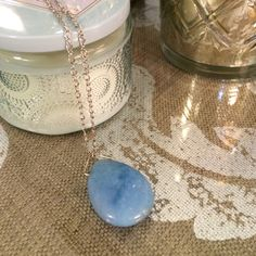 Stone Necklace Long, adjustable necklace // Light Blue Stone American Eagle Outfitters Jewelry Necklaces