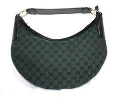 Gucci Emerald Green Canvas Designer Hobo