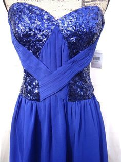 Short Mini Blue Prom Cocktail Dress Fit Flare Size Large Strapless Sequins NWT #ADrea #FitandFlare #CocktailFormal