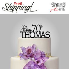 70th Birthday Cake Topper Personalized Name Cake by givingINK
