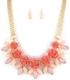 Pink Roses Pink  Crystal Accents Gold Tone  Statement  Bib Fashion Necklace Set #FashionJewelry