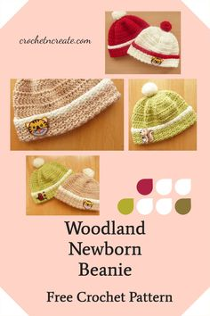 This free crochet pattern for a newborn beanie hat is part of the woodland collection, checkout the other pieces on crochetncreate. All Free Crochet, Single Crochet, Crochet Stitches, Crochet Hooks, Stitch Patterns, Crochet Patterns, Newborn Beanie, Crochet Sweaters, Crochet Baby Clothes