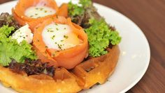Twin Salmon Nest waffle from Yellow Cup Coffee in Havelock Road, Singapore. http://www.straitstimes.com/recipes-food-cooking-tips Photo: Lim Yao Hui for The Straits Times